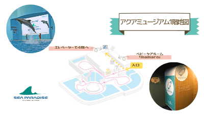 横浜八景島パラダイス・アクアスタジアム1階地図(エレベーターとベビーケアルームの場所)