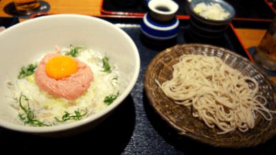 池袋・彩蔵ランチ「ネギトロしらす丼+手打ち蕎麦」880円