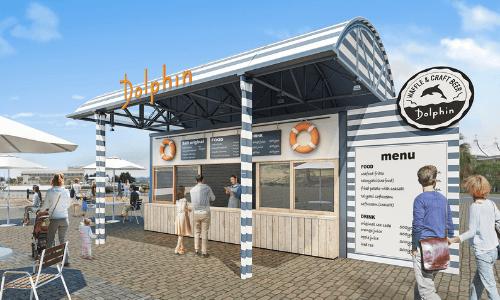 【横浜・八景島シーパラダイス】ワッフル&クラフトビールのお店「ドルフィン」外観